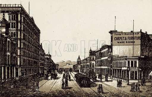 Market Street. Illustration from an unidentified set of views from around the world, c 1885.