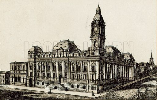 Town Hall. Illustration from an unidentified set of views from around the world, c 1885.