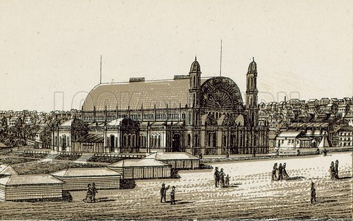 Exhibition Building, Alfred Park. Illustration from an unidentified set of views from around the world, c 1885.