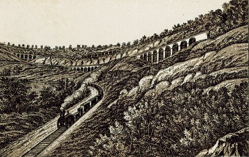 The Zig Zags Lithgow Valley, Blue Mountains. Illustration from an unidentified set of views from around the world, c 1885.