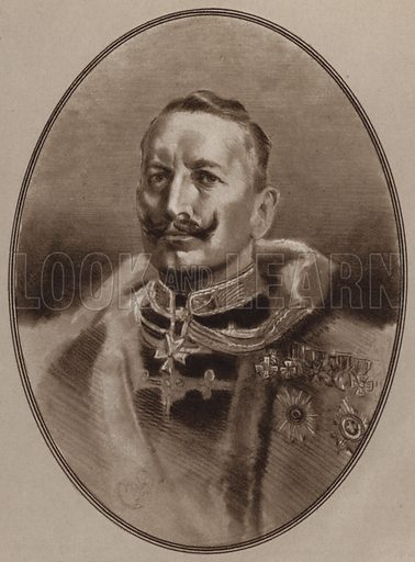 Kaiser Wilhelm. Illustration for Living Biographies of Famous Rulers by Henry Thomas and Dana Lee Thomas (Blue Ribbon, c 1940).