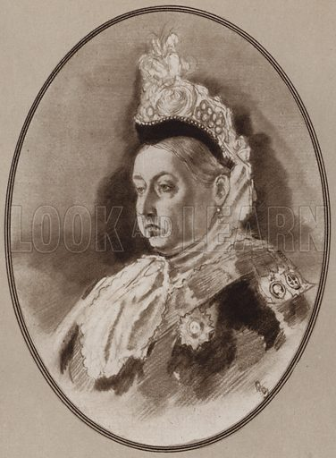 Queen Victoria. Illustration for Living Biographies of Famous Rulers by Henry Thomas and Dana Lee Thomas (Blue Ribbon, c 1940).