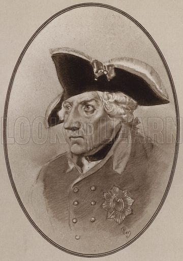 Frederick the Great. Illustration for Living Biographies of Famous Rulers by Henry Thomas and Dana Lee Thomas (Blue Ribbon, c 1940).