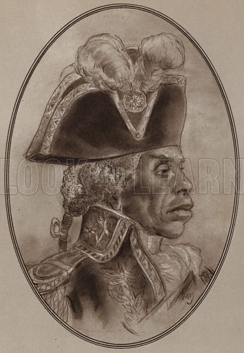 Toussaint L'Ouverture. Illustration for Living Biographies of Famous Rulers by Henry Thomas and Dana Lee Thomas (Blue Ribbon, c 1940).