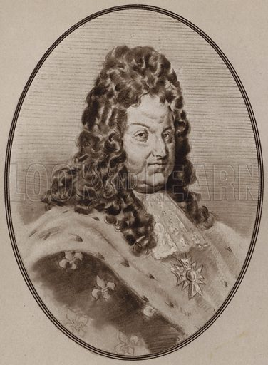 Louis XIV. Illustration for Living Biographies of Famous Rulers by Henry Thomas and Dana Lee Thomas (Blue Ribbon, c 1940).