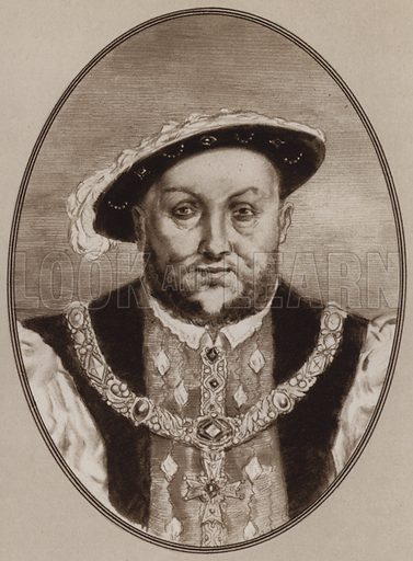 Henry VIII. Illustration for Living Biographies of Famous Rulers by Henry Thomas and Dana Lee Thomas (Blue Ribbon, c 1940).