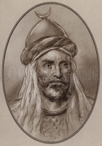Saladin. Illustration for Living Biographies of Famous Rulers by Henry Thomas and Dana Lee Thomas (Blue Ribbon, c 1940).
