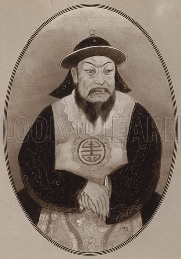 Kublai Khan. Illustration for Living Biographies of Famous Rulers by Henry Thomas and Dana Lee Thomas (Blue Ribbon, c 1940).