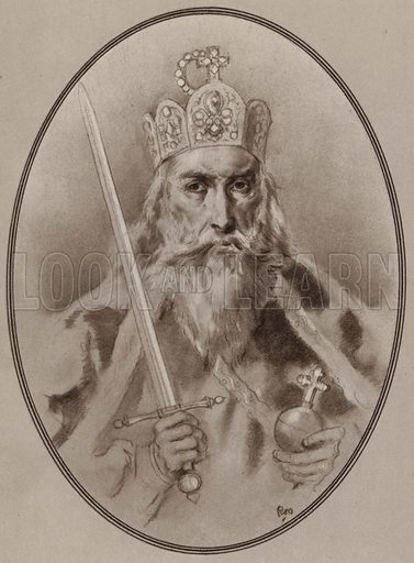 Charlemagne. Illustration for Living Biographies of Famous Rulers by Henry Thomas and Dana Lee Thomas (Blue Ribbon, c 1940).