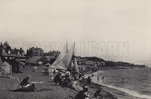 East Beach. Illustration for a booklet of views of Felixstowe (J E Law, c 1895). Gravure-printed.