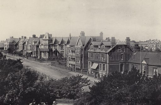 Wolsely Terrace. Illustration for a booklet of views of Felixstowe (J E Law, c 1895). Gravure-printed.