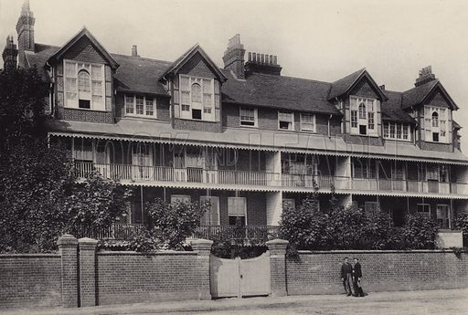 Convalescent Home. Illustration for a booklet of views of Felixstowe (J E Law, c 1895). Gravure-printed.