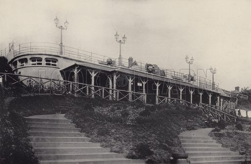 New Shelter. Illustration for a booklet of views of Felixstowe (J E Law, c 1895). Gravure-printed.