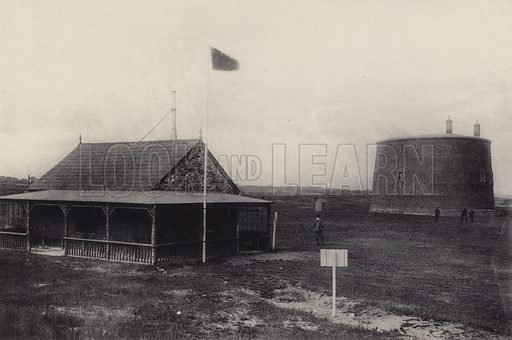 Ladie's Golf Club. Illustration for a booklet of views of Felixstowe (J E Law, c 1895). Gravure-printed.