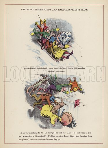 The merry sledge party and thier marvellous slide.  Illustration for Fools Paradise (John Camden Hotten, 1871).