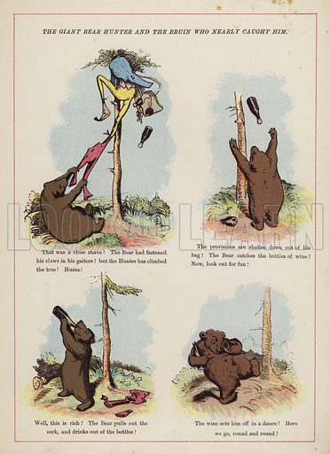 The giant bear hunter and the Bruin who nearly caught him.  Illustration for Fools Paradise (John Camden Hotten, 1871).