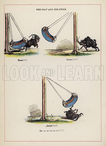 The goat and the swing.  Illustration for Fools Paradise (John Camden Hotten, 1871).