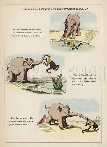The Bad Black Hunter and the Ponderous Elephant.  Illustration for Fools Paradise (John Camden Hotten, 1871).