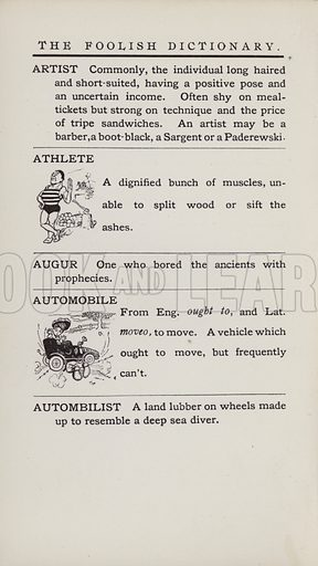Athlete, Automobile. Illustration for the Foolish Dictionary by Gideon Wurdz with a Few Pictures by Wallace Goldsmith (Dean, c 1905).