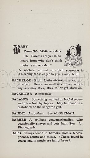Baby. Illustration for the Foolish Dictionary by Gideon Wurdz with a Few Pictures by Wallace Goldsmith (Dean, c 1905).