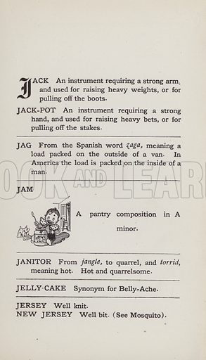 Jam. Illustration for the Foolish Dictionary by Gideon Wurdz with a Few Pictures by Wallace Goldsmith (Dean, c 1905).