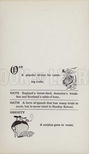 Oar, Obesity. Illustration for the Foolish Dictionary by Gideon Wurdz with a Few Pictures by Wallace Goldsmith (Dean, c 1905).