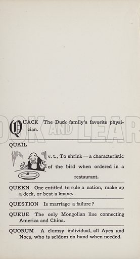 Quail. Illustration for the Foolish Dictionary by Gideon Wurdz with a Few Pictures by Wallace Goldsmith (Dean, c 1905).
