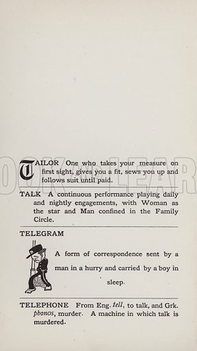 Telegram. Illustration for the Foolish Dictionary by Gideon Wurdz with a Few Pictures by Wallace Goldsmith (Dean, c 1905).