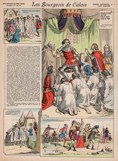Les Bourgeois de Calais. Illustration for Gloires Nationales Qui Vive? France! (Epinal Pellerin, c 1900).