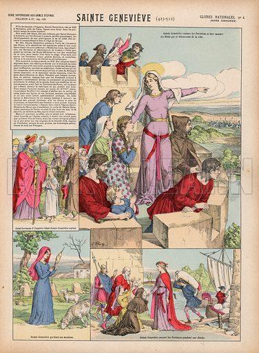 Sainte Genevieve, 423-512. Illustration for Gloires Nationales Qui Vive? France! (Epinal Pellerin, c 1900).