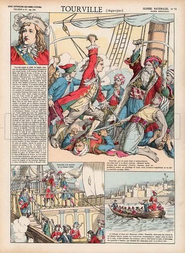 Tourville, 1642-1701. Illustration for Gloires Nationales Qui Vive? France! (Epinal Pellerin, c 1900).