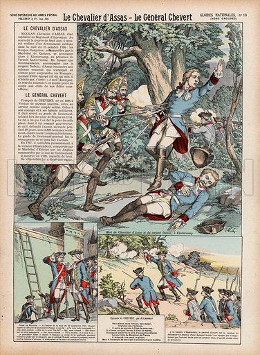 Le Chevalier d'Assas, Le General Chevert. Illustration for Gloires Nationales Qui Vive? France! (Epinal Pellerin, c 1900).