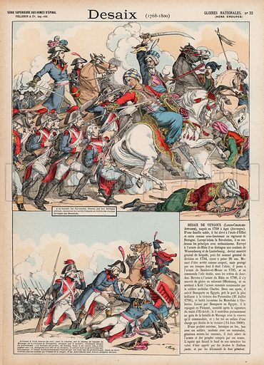 Desaix, 1768-1800. Illustration for Gloires Nationales Qui Vive? France! (Epinal Pellerin, c 1900).