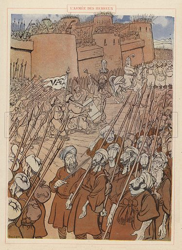 L'Armee des Hebreux. Illustration for Guerriers et Soldats with text by Montfrilleux and illustrations by Caran D'Ache (Felix Juven, c 1896).
