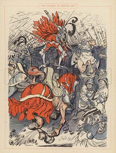 Une Charge au Moyen-Age. Illustration for Guerriers et Soldats with text by Montfrilleux and illustrations by Caran D'Ache (Felix Juven, c 1896).