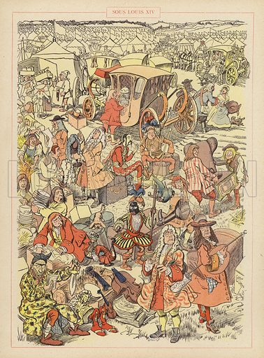 Sous Louis XIV. Illustration for Guerriers et Soldats with text by Montfrilleux and illustrations by Caran D'Ache (Felix Juven, c 1896).