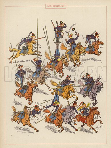 Les Cosaques. Illustration for Guerriers et Soldats with text by Montfrilleux and illustrations by Caran D'Ache (Felix Juven, c 1896).