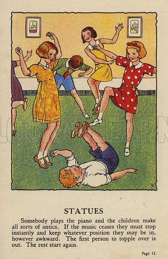 Statues. Illustration for Games for Girls and Boys (R A Publishing Company, London, nd, c 1940).