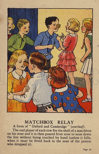Matchbox Relay. Illustration for Games for Girls and Boys (R A Publishing Company, London, nd, c 1940).