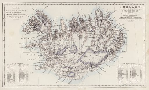 Iceland, according to the Trigon Survey of Gunnlaugsson drawn by Augustus Petermann. Illustration for A Gazetteer of the World or Dictionary of Geographical Knowledge (A Fullarton, 1858).