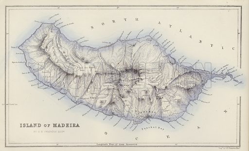 Island of Madeira, by G H Swanston, Edinburgh. Illustration for A Gazetteer of the World or Dictionary of Geographical Knowledge (A Fullarton, 1858).
