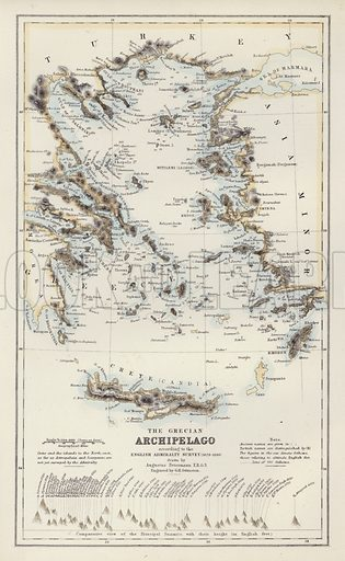 The Grecian Archipelago, according to the English Admiralty Survey, 1828-1849, drawn by Augustus Petermann. Illustration for A Gazetteer of the World or Dictionary of Geographical Knowledge (A Fullarton, 1858).
