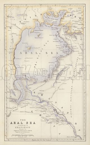The Aral Sea, according to Khanikoff, drawn by Augustus Petermann. Illustration for A Gazetteer of the World or Dictionary of Geographical Knowledge (A Fullarton, 1858).
