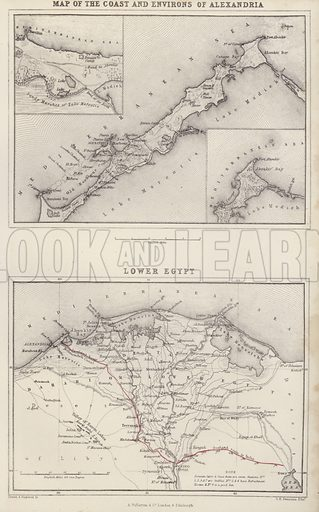 Map of the Coast and Environs of Alexandria; Lower Egypt. Illustration for A Gazetteer of the World or Dictionary of Geographical Knowledge (A Fullarton, 1858).