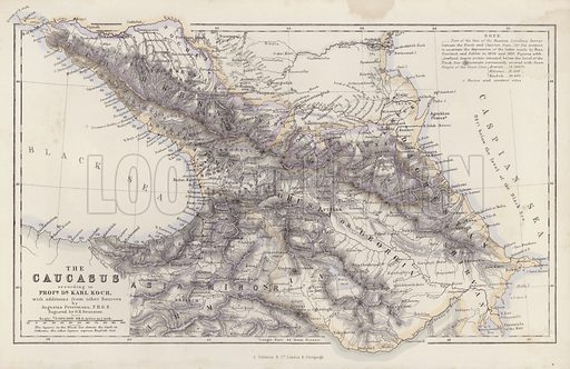 The Caucasus, according to Professor Doctor Karl Koch, with additions from other Sources, by Augustus Petermann. Illustration for A Gazetteer of the World or Dictionary of Geographical Knowledge (A Fullarton, 1858).