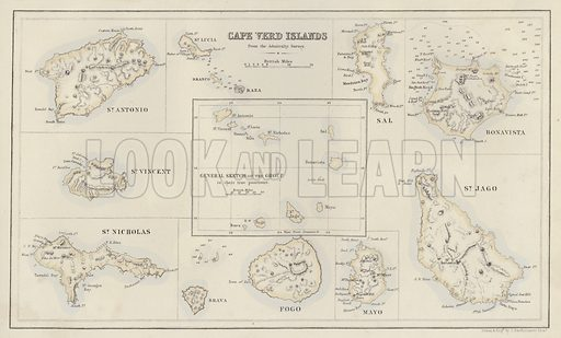 Cape Verd Islands, from the Admiralty Survey. Illustration for A Gazetteer of the World or Dictionary of Geographical Knowledge (A Fullarton, 1858).