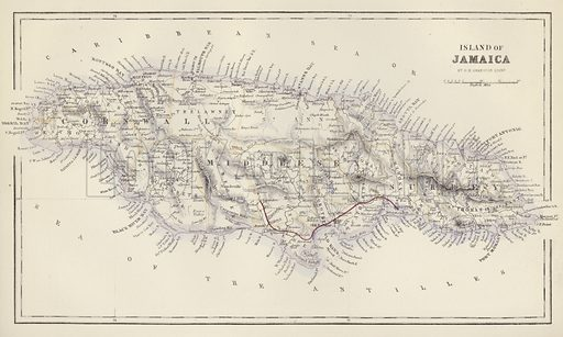 Island of Jamaica, by G H Swanston, Edinburgh. Illustration for A Gazetteer of the World or Dictionary of Geographical Knowledge (A Fullarton, 1858).