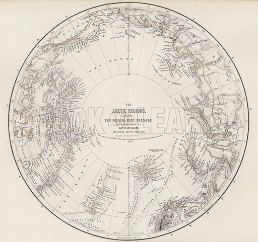The Arctic Regions, showing the North-West Passage, as determined by Captain R McClure and other Arctic Voyagers, compiled by J Hugh Johnson. Illustration for A Gazetteer of the World or Dictionary of Geographical Knowledge (A Fullarton, 1858).