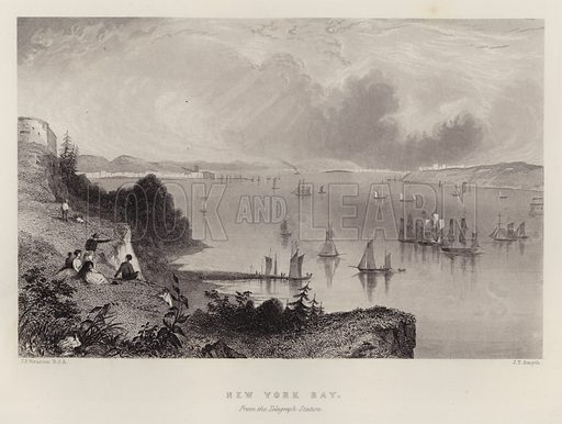 New York Bay, from the Telegraph Station. Illustration for A Gazetteer of the World or Dictionary of Geographical Knowledge (A Fullarton, 1858).