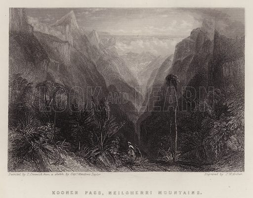 Kooner Pass, Neilgherri Mountains. Illustration for A Gazetteer of the World or Dictionary of Geographical Knowledge (A Fullarton, 1858).
